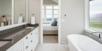 Ensuite Marble floor and solid stone counterop